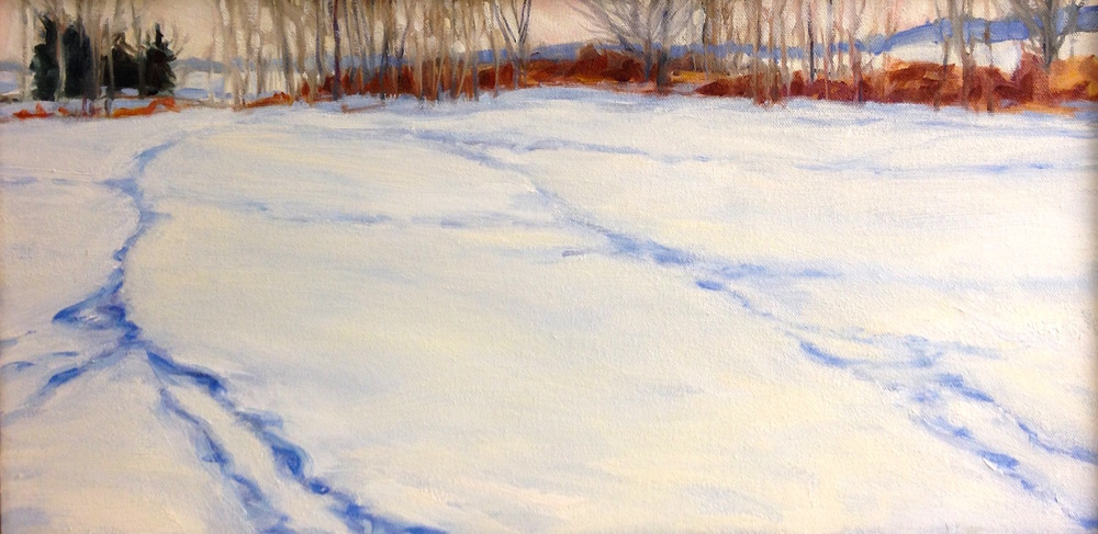 Deer Tracks morning, 10x20""