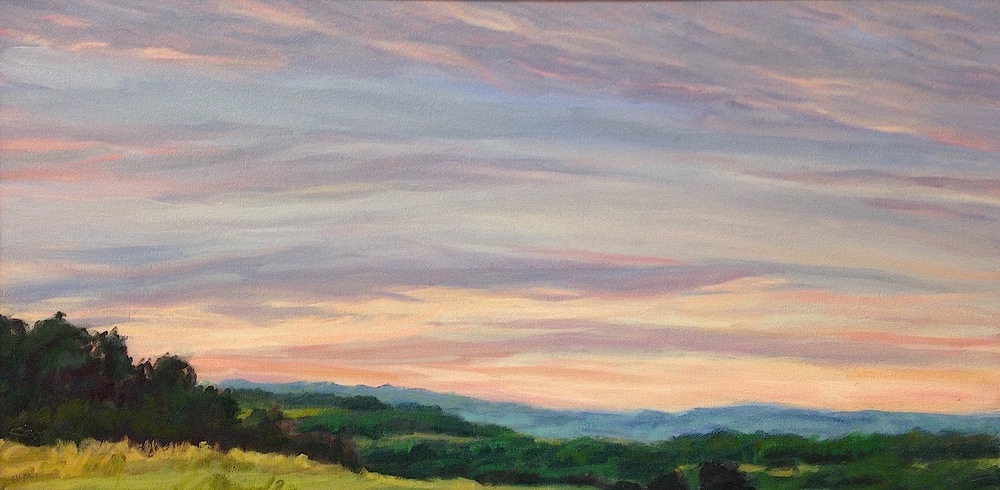 Pink sunset over hills, 12x24""
