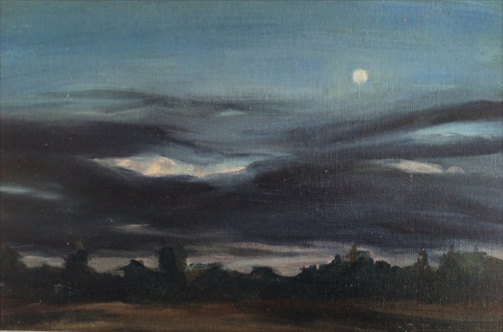 September Moonrise, canvas paper, mounted on panel, 7x10.5""