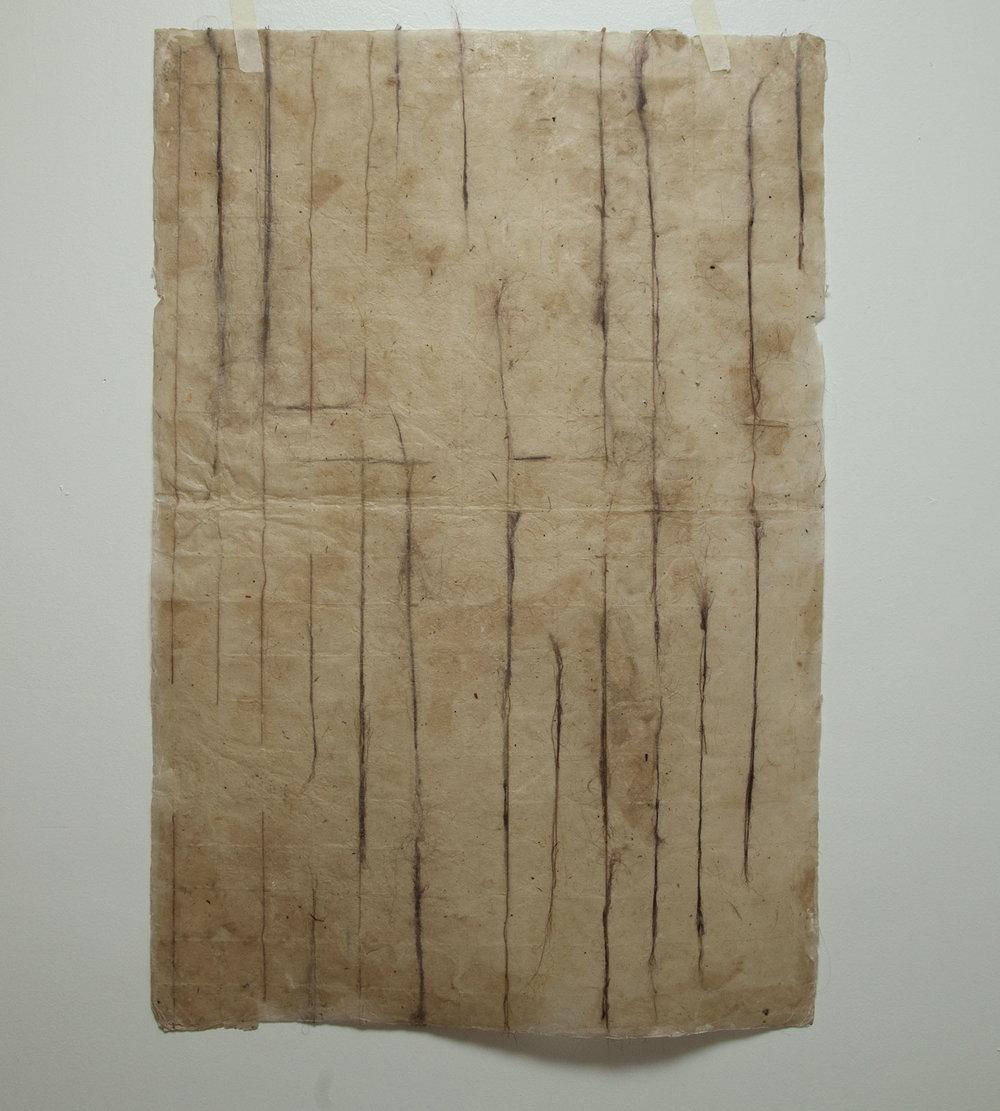 "Untitled , 2014, Artist's Hair, Handmade Paper & Wax, 16"" x 20"""