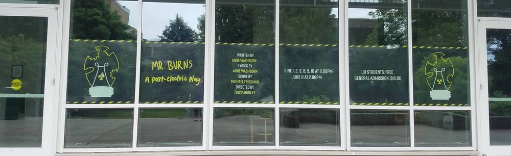 Installments placed in the front windows of the Robinson Theatre Complex