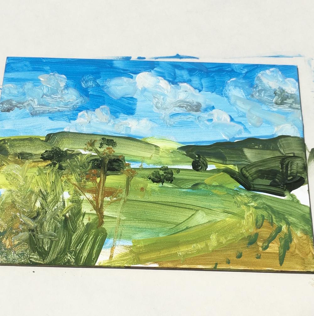 Lauren's painting of the hills surrounding McEnroe farm.