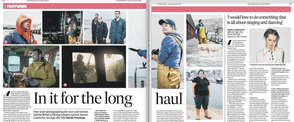 Two page Feature on the series North Sea Swells in the Scotsman 3rd December 2017