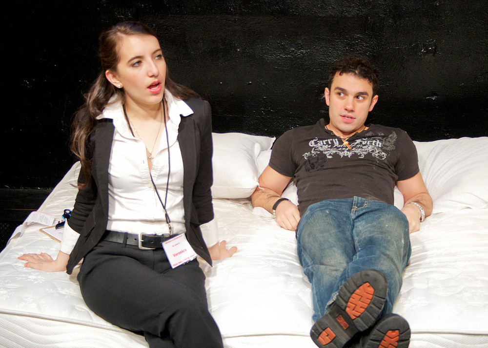 Sarah Miller and Leo Giannopoulos in The Abingdon Theatre Arts Complex production.