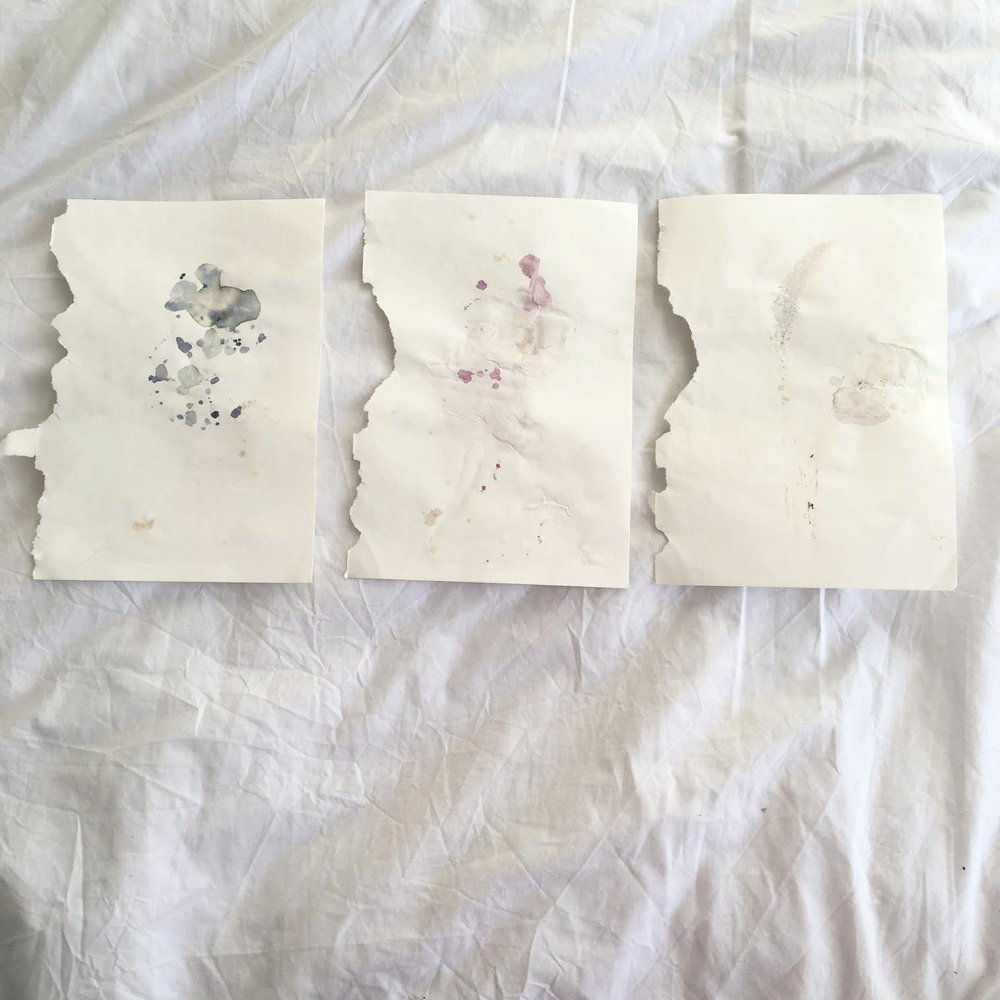Beautiful marks and washes left from pressing petals of some flowers.