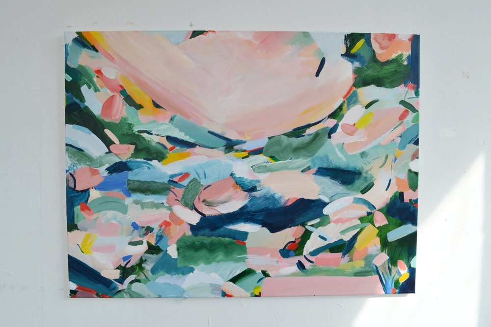 Spring, joyful commission inspired by  my 'flower garden' paintings and 'sparked my heart' collection. Measures 80cm x 60cm