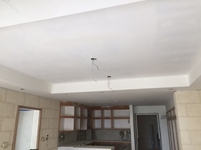 Plaster board ceiling installation on Ground Floor