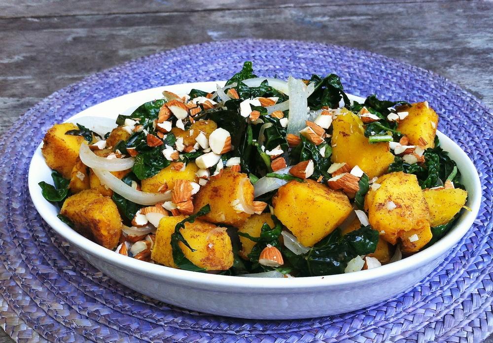 Acorn squash with sauteed kale
