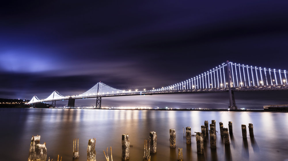 The Bay Lights shine nightly from sunset until 2 AM