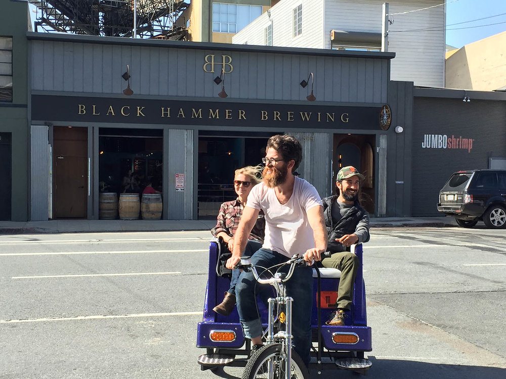 The SF Brew Ride -- A San Francisco brewery tour like no other -- on a mobile couch