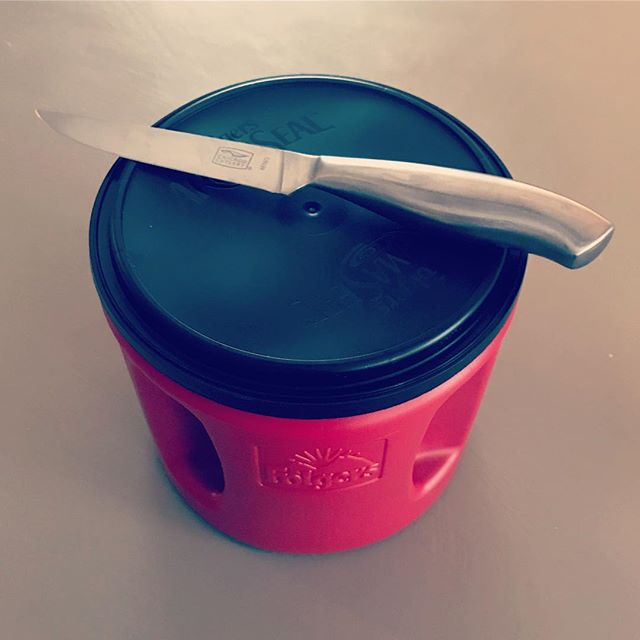 Life hack: Carefully cut a 1x3 inch hole in the top of an empty coffee container to easily sprinkle salt. (Best to use a utility knife but a sharp kitchen knife will work too!)