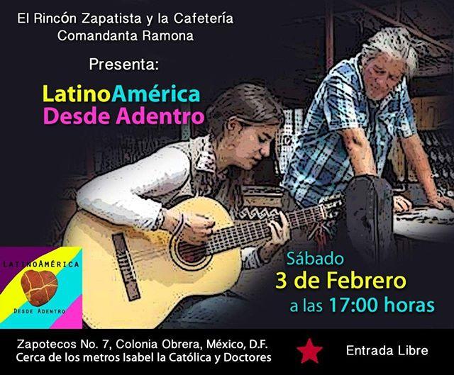 Para apoyar la causa zapatista y despedir a México querido, vamos hacer un concierto brindando lo profundo de la musica latioamericana. Ven a sentir nostalgia y fuerza!