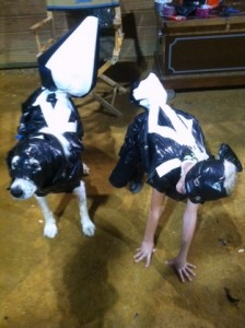 Carlee McCutcheon and Sketch — finalists in the Duct Tape and Trashbag costume competition!