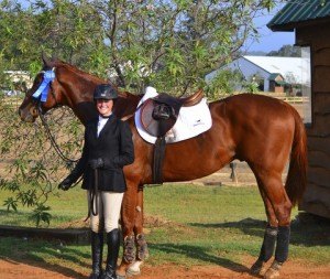 St. Pauli Boy   Owned by Colleen McQuay and shown by Alexandra Ansteth  Winner of the TAKE2 Thoroughbred Program jumper division at his first horse show