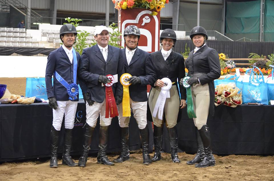 Peter Pletcher with Reserve Rider Will Roberts, 3rd Leading Rider Bob Brawley, 4th Leading Rider Jen Alfano, and 6th Leading Rider Liza Richardson