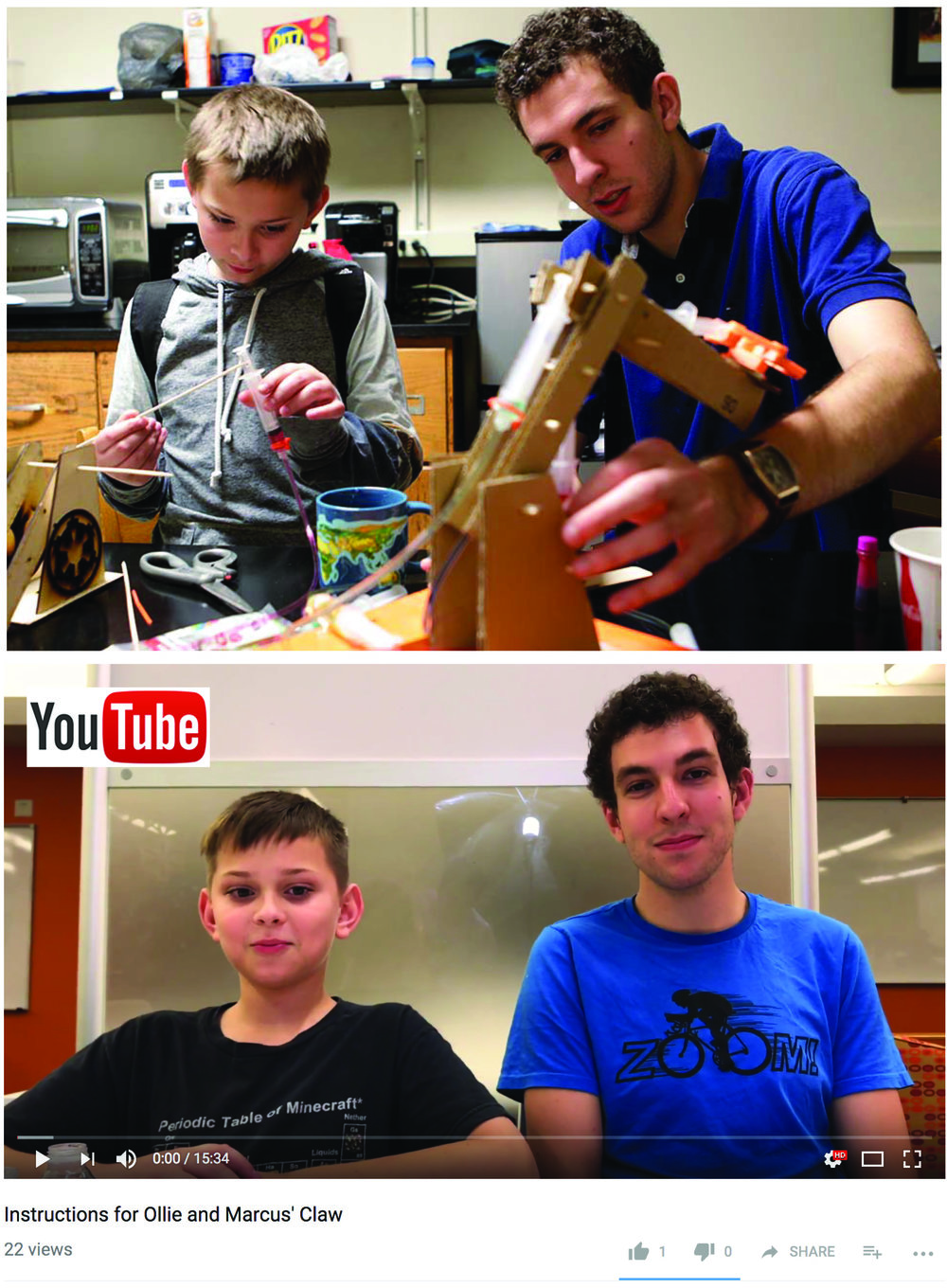 Marcus & Ollie making prototypes of the hydraulic claw and providing assembly instructions in a YouTube video