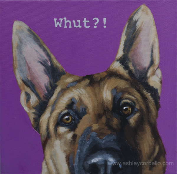 German Sheperd pet painting - Ashley Corbello