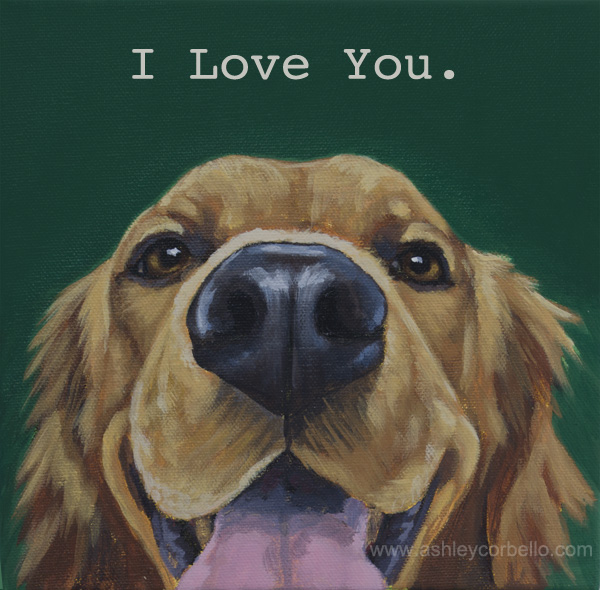 Golden Retriever pet portrait by Ashley Corbello