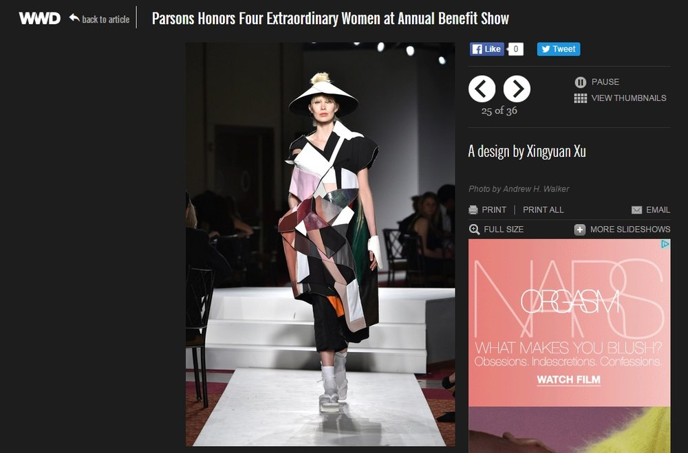 WWD - XINGYUAN XU 2016 collection covered by WWD.com
