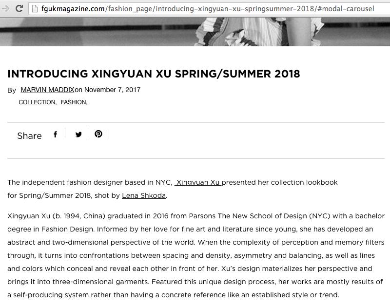 FGUK Magazine - XINGYUAN XU 2018 collection covered by FGUK Magazine:http://fgukmagazine.com/fashion_page/introducing-xingyuan-xu-springsummer-2018/