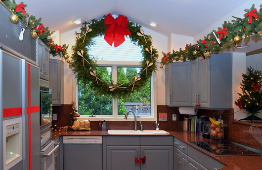 add roping around the kitchen above the cabinets or under the wall cabinets and tie in dime store kitchen utensils in your favorite holiday color - Christmas Decorating On A Dime