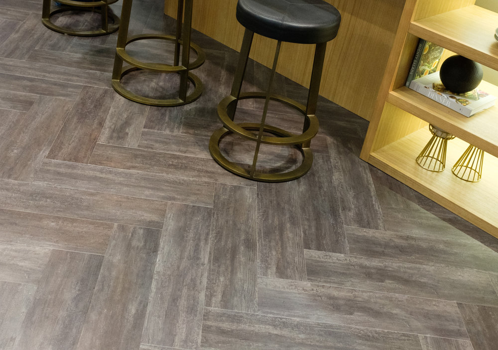 gray herringbone floor
