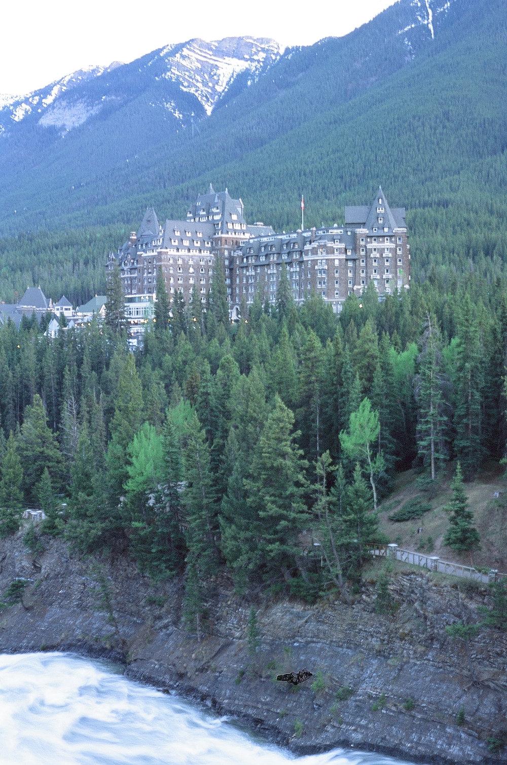Surprise Corner, Fairmont Banff Springs Hotel - Banff, CA    Provia 100F - Olympus OM10