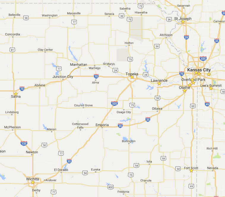 Where we have worked regionally (stars).