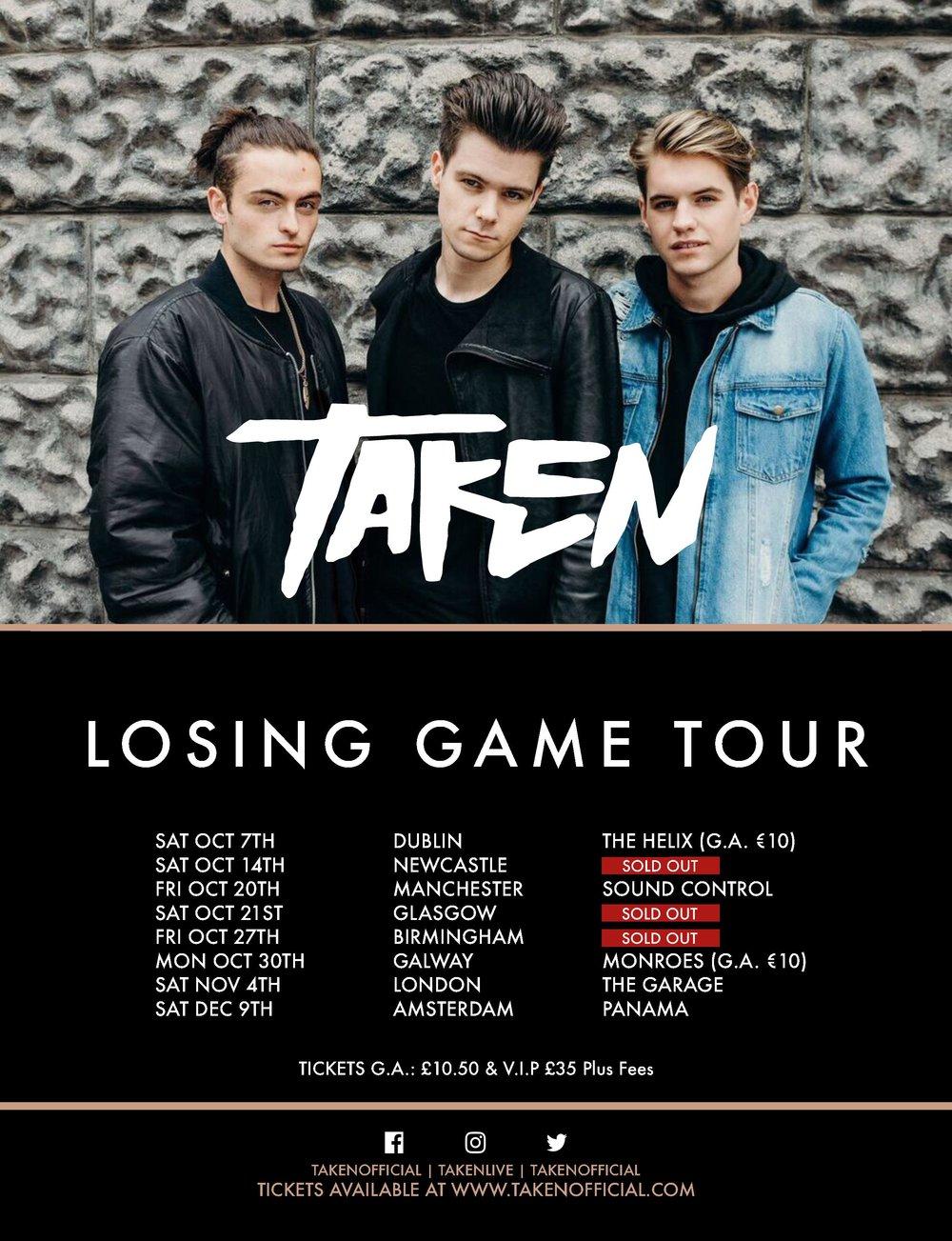 Taken Losing Game Tour UK European