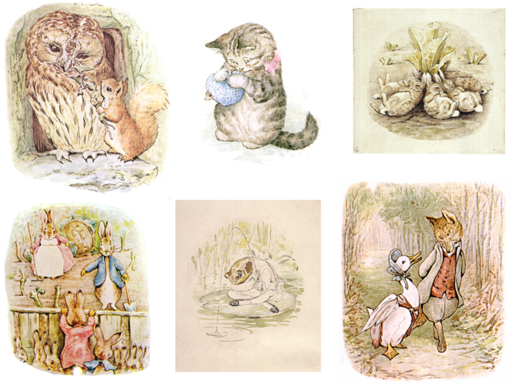 Top: Squirrel Nutkin, Miss Moppet, The Flopsy Bunnies                                                                                      Bottom: Peter Rabbit,  Jeremy Fisher,  Jemima Puddle-Duck  By Beatrix Potter - The Gutenberg Project [Public Domain],  via Wikimedia Commons