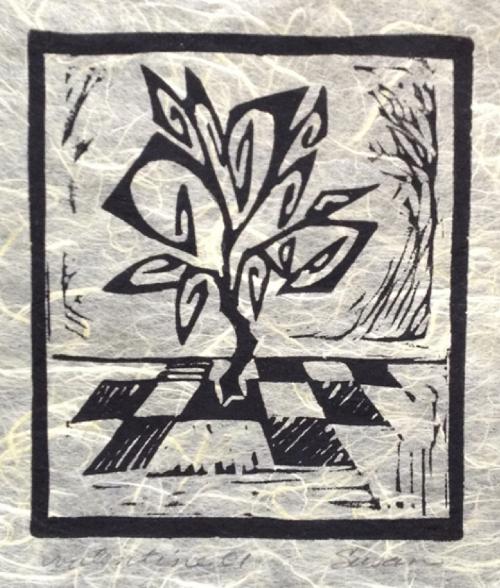 Valentine  linoleum print by Susan Smith