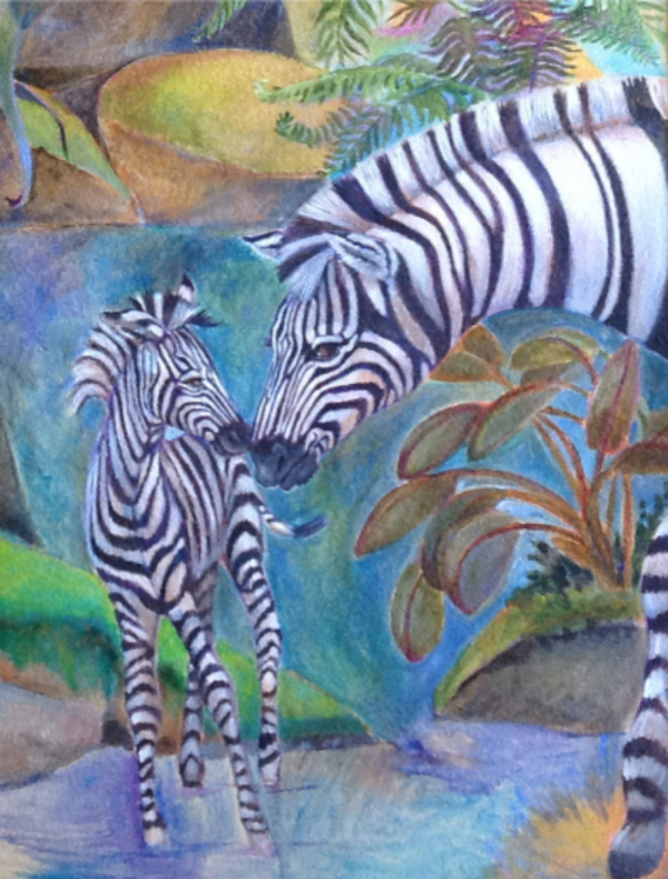 Zebras , Oakridge mural, in acrylic by Susan Smith