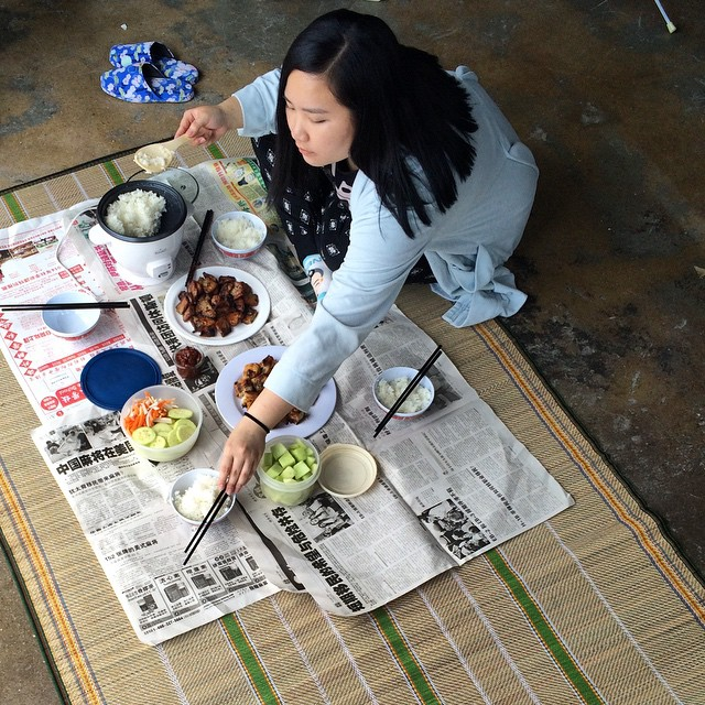 "Sao Li (@smugpants) is performing her ""Eating For Four"", a restaging of traditional Vietnamese dinner from her childhood. She'll be here until 6:30p."