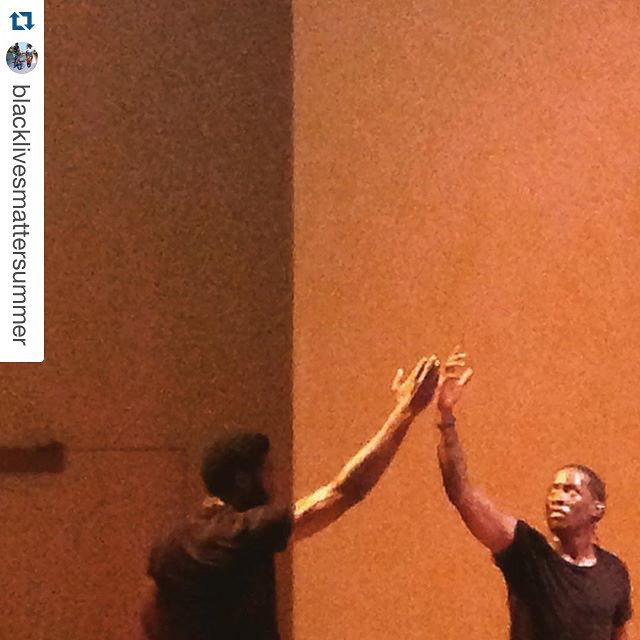 #Repost @blacklivesmattersummer with @repostapp. ・・・ From yesterday's performance of Dapline at the Performance Project at University Settlement. Dapline investigates the social performance of dapping, the intricate handshake ritual that serves as a greeting, usually between black men. Consisting almost entirely of dance and repetition, the performance was only accompanied by the amplified sound of the performers breathing, grunts, and stomps. The visual art piece functioned similarly to group therapy, as each of the men sought to resist the callous narrative of traditional Black masculinity (which is enabled by white supremacist discourse) in favor of an intimacy that is constructive and sustaining.  #BlackLivesMatterSummer #BLMS #UniversitySettlement #Dapline