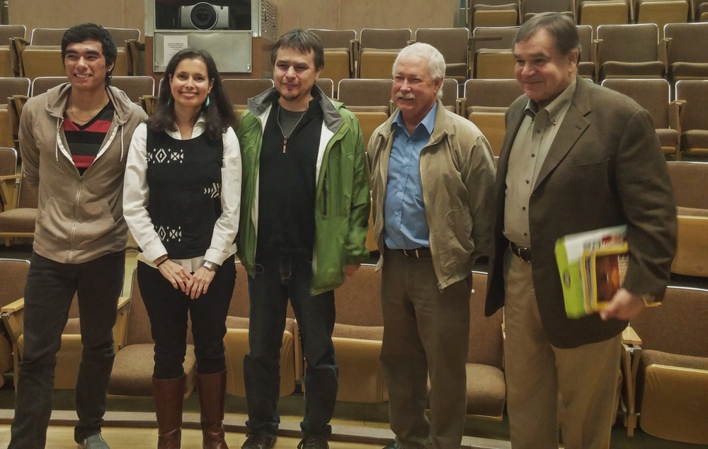Oil & Water Co-Director Lauren Spellmen Smith  (second from Left) with with Joshua Borman, Micah McCarty, Randy Borman and Tom Waterer