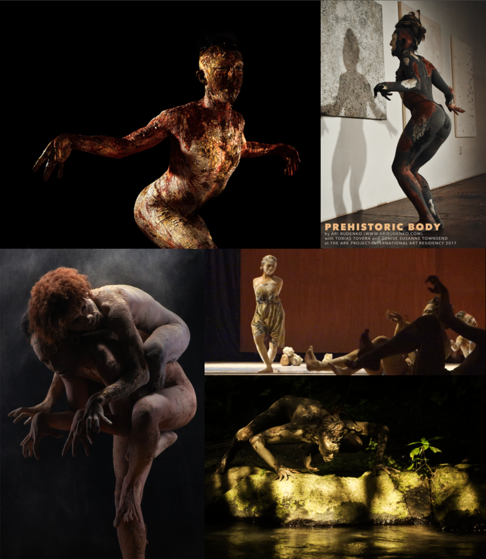 All images copyright Ari Rudenko, credits: top left and right: in residency with Tobias Tovera at Ark Project Gallery.  Bottom left: with Papuan dancer Alfo Smith Kutanggas, photography by Gendis Photoworks Jogjakarta, Indonesia.  Middle right: Prehistoric Body performance with Singkong Art Space, Madura, Indonesia.  Bottom right: photograph by Muhammad Fauzy Chaniago, Bali, Indonesia