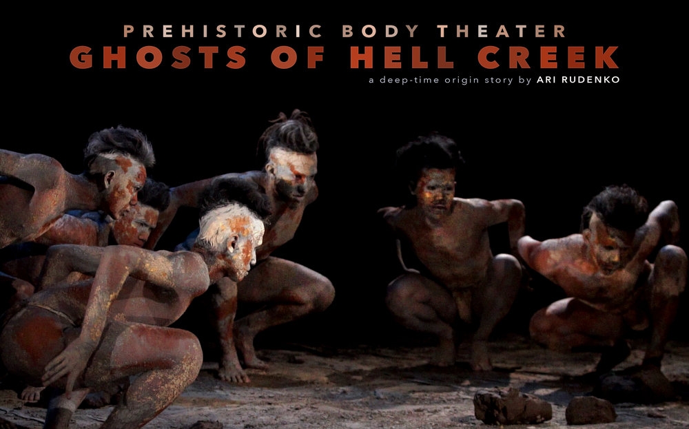 Prehistoric Body Theater GHOSTS of HELL CREEK 2017 Indonesia Film Project, image featuring dancers Sofyan Joyo Utomo, Muhammad Maulana Al-Azhar, Bagus Pulung Tilamas, Nur Arifin, Suntoro Aji Nugroho, Razan Muhamad, and Ari Rudenko.  Image © Ari Rudenko