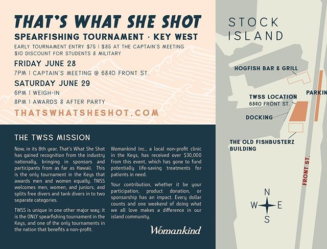 The tournament will be here before we know it. Sponsorships opportunities are still available. Vendors and food trucks will be meeting us at the dock for a party open to the public. Join us for live music, raffle prizes and beer! June 29th 6-9pm. . . . . . . #keywest #florida #spear #spearfishing #dive #diving #thatswhatsheshot #twss #freedive #fish #fishing