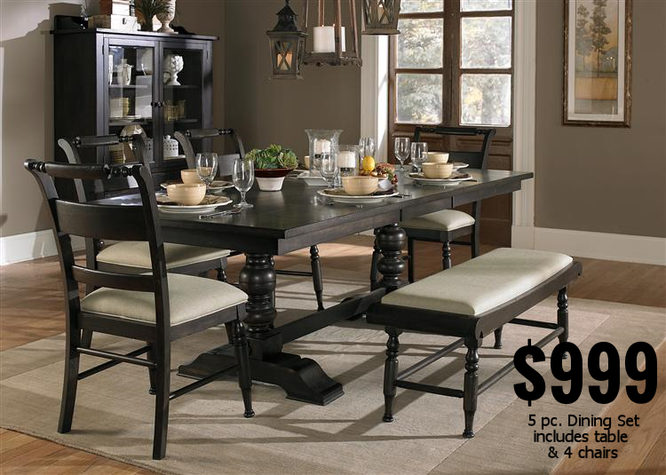 5 piece Dining Set - Reg. $1,699.99                   6 piece set - Reg. $1,899.99 Sale Price $1,299.99                                            Sale Price $1,499.99 Spring Savings Price $999.99!                          Spring Savings Price $1,299.99! Hutch - Reg. $1,499.99                                      Bench - Reg. $249.99 Sale Price $1,199.99                                            Sale Price $199.99 Spring Savings Price $999.99!                         Spring Savings Price $149.99!