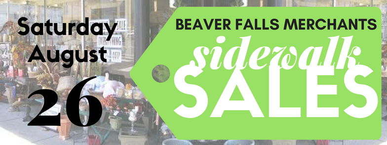 Shop local for great deals! Join us for an End of the Summer Sidewalk Sale! Many Beaver Falls Merchants will be participating that day, so come out and see what great deals you can score! Check out the discussion part of this event for more details on the individual businesses who will be participating and what offers they will have!