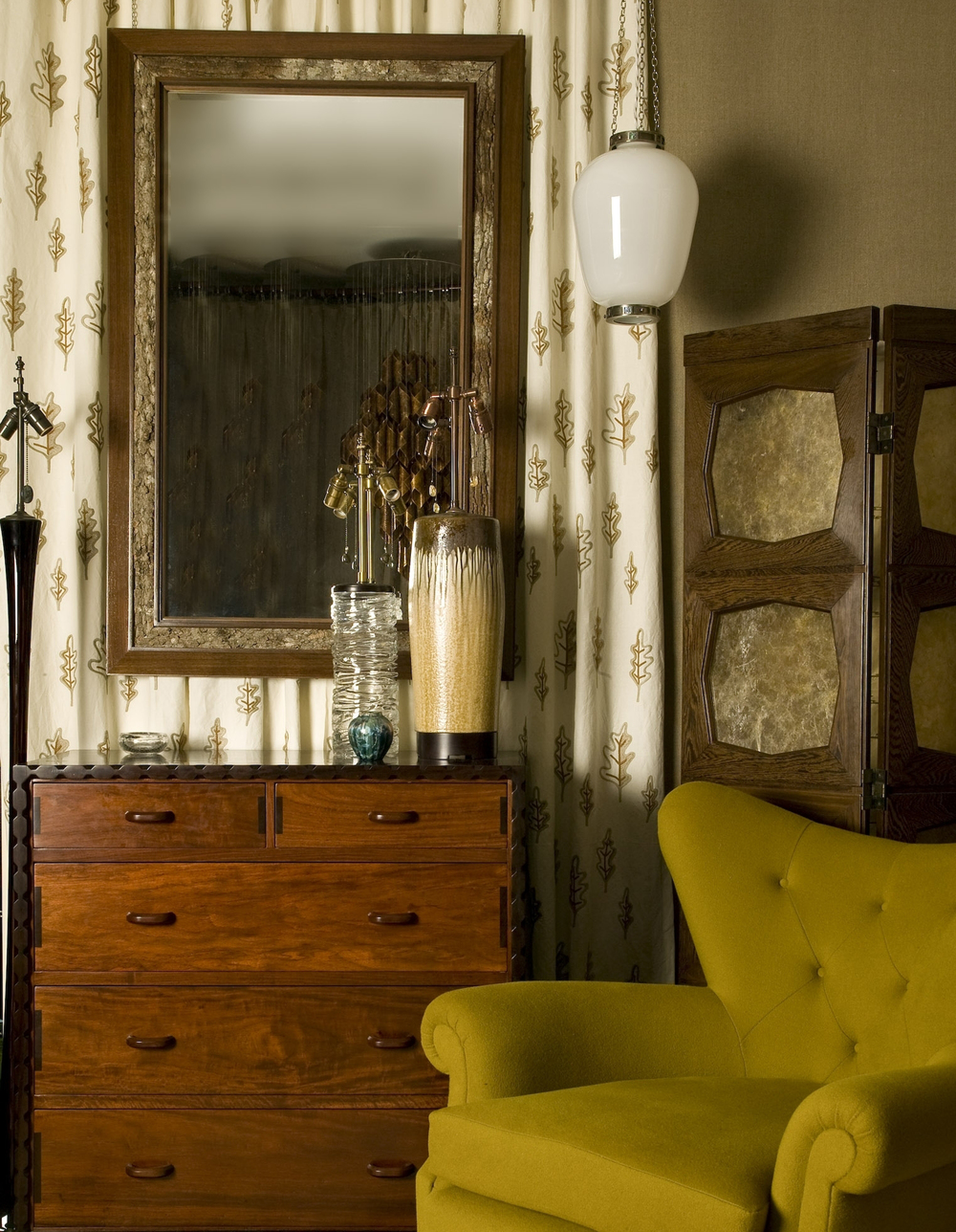 Oak leaves fabric, Cotswold chest Barker Mirror, China Lantern pendant,