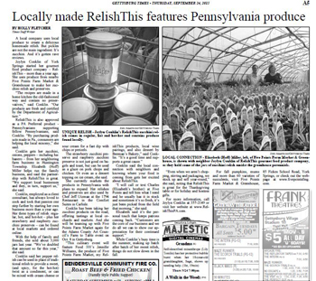 RelishThis featured in Gettysburg Times, September 24, 2015