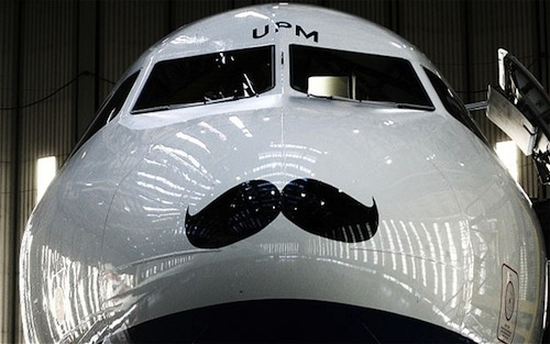 In support of,  Movember—an annual campaign to raise awareness of prostate cancer—some airplanes have started sporting mustaches.    From a trim upper-lip  to a flamboyant handlebar, three airlines—British Airways, Qantas and WestJet—have given their airplanes facial hair makeovers in order to raise money for prostate cancer charities and research institutions.    While British Airways  is aiming to raise more than £80,000 for the Prostate Cancer Charity, WestJet has launched a contest to reward the Canadian organization with the highest employee participation rate in Movember with two round-trip tickets to any of its destinations.    Now that even airplanes  are sporting them, a mustache is officially the coolest accessory to own this month.             via: Design Taxi