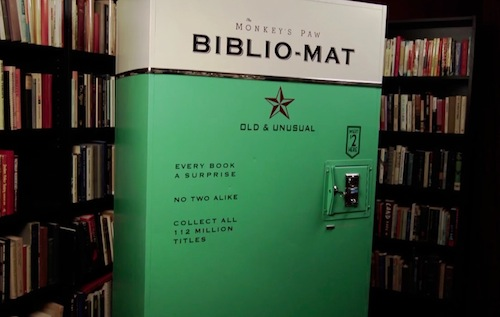 "Toronto, Canada-based  second-hand bookshop  The Monkey's Paw  created a vending machine that gives customers an interesting way to get new books.    Built by  designer  Craig Small  and the store's owner Stephen Fowler, the 'Biblio-Mat' is an old metal locker that dispenses random, used tomes at $2 each.    When customers  put the coins in, books that vary in sizes and titles get whirred out.    The Biblio-Mat was  conceived as ""an artful alternative to the ubiquitous and often ignored discount sidewalk bin"", Small wrote in the video's description.    Via: Design Taxi"