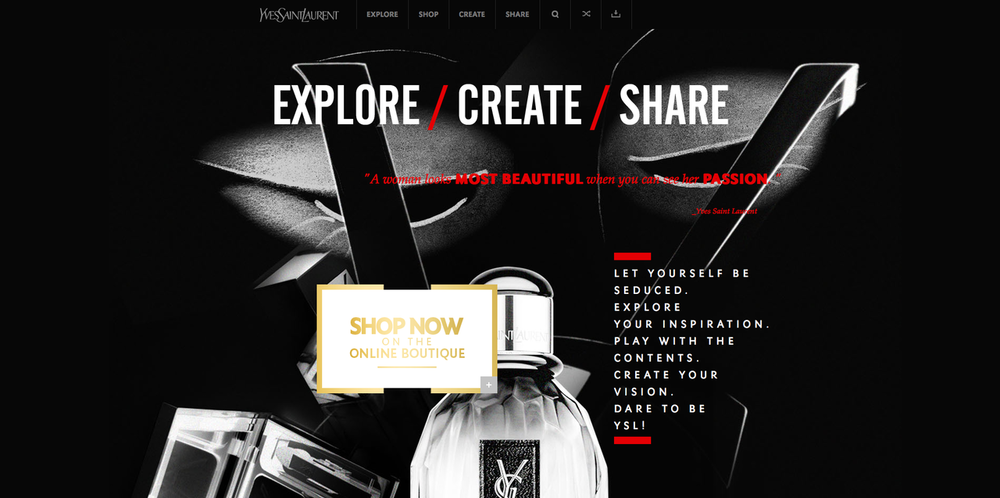 Beauty and cosmetics webby award winning site: Explore YSL - Yves Saint Laurent    Source:  View Site