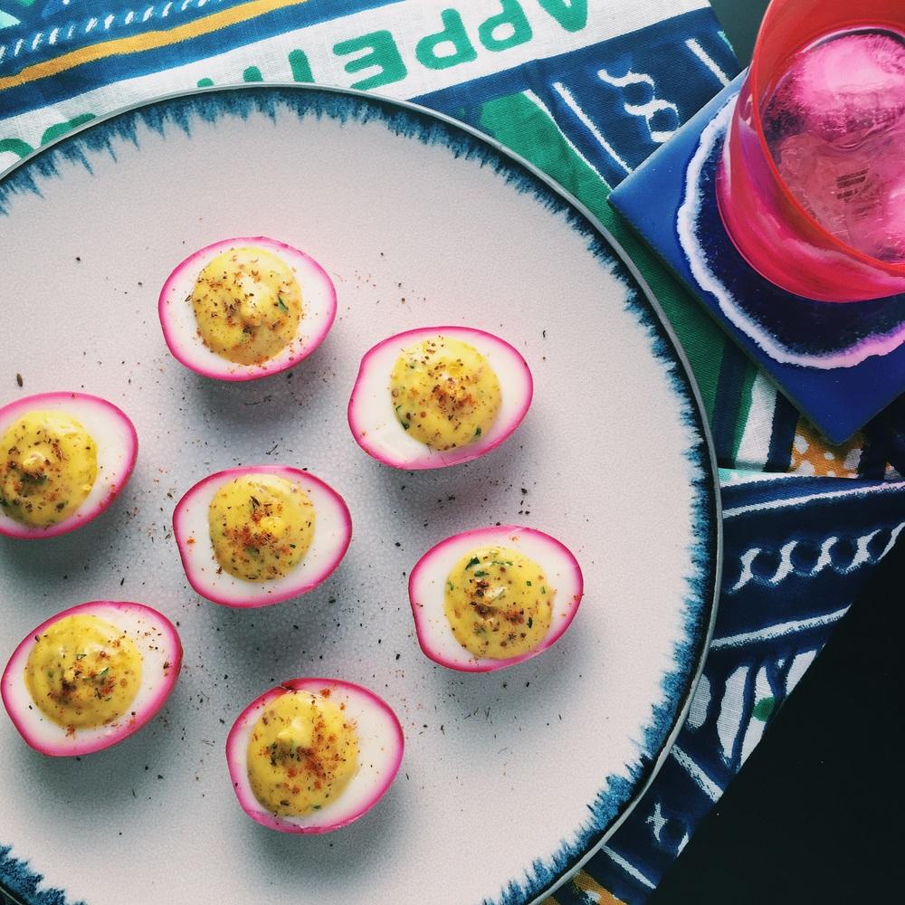 { Beet-pickled deviled eggs }