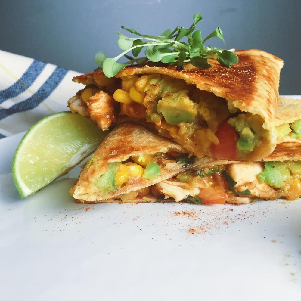 { gluten and dairy free, chicken and veggie quesadillas }