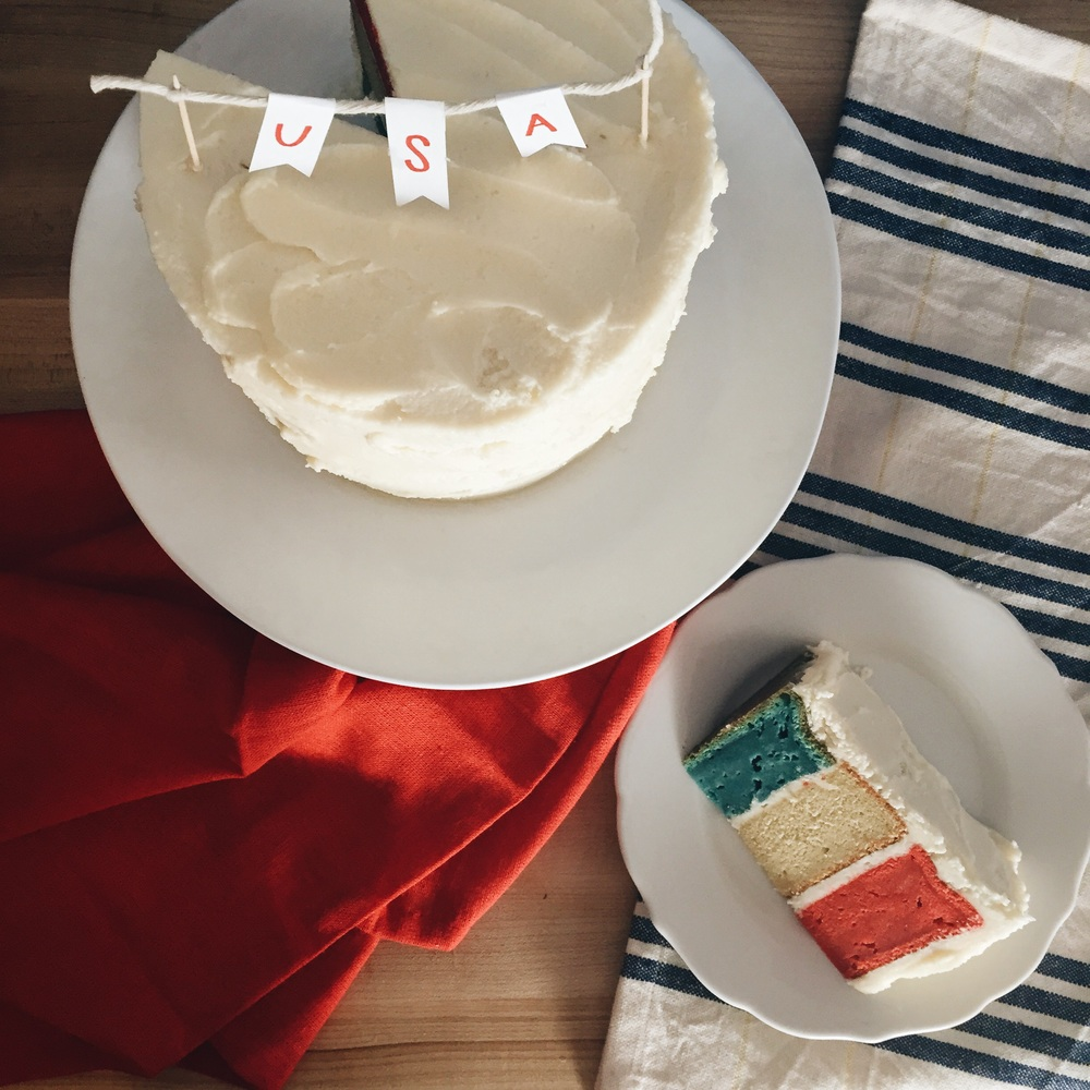 {Gluten-free tri color vanilla cake with buttercream frosting}