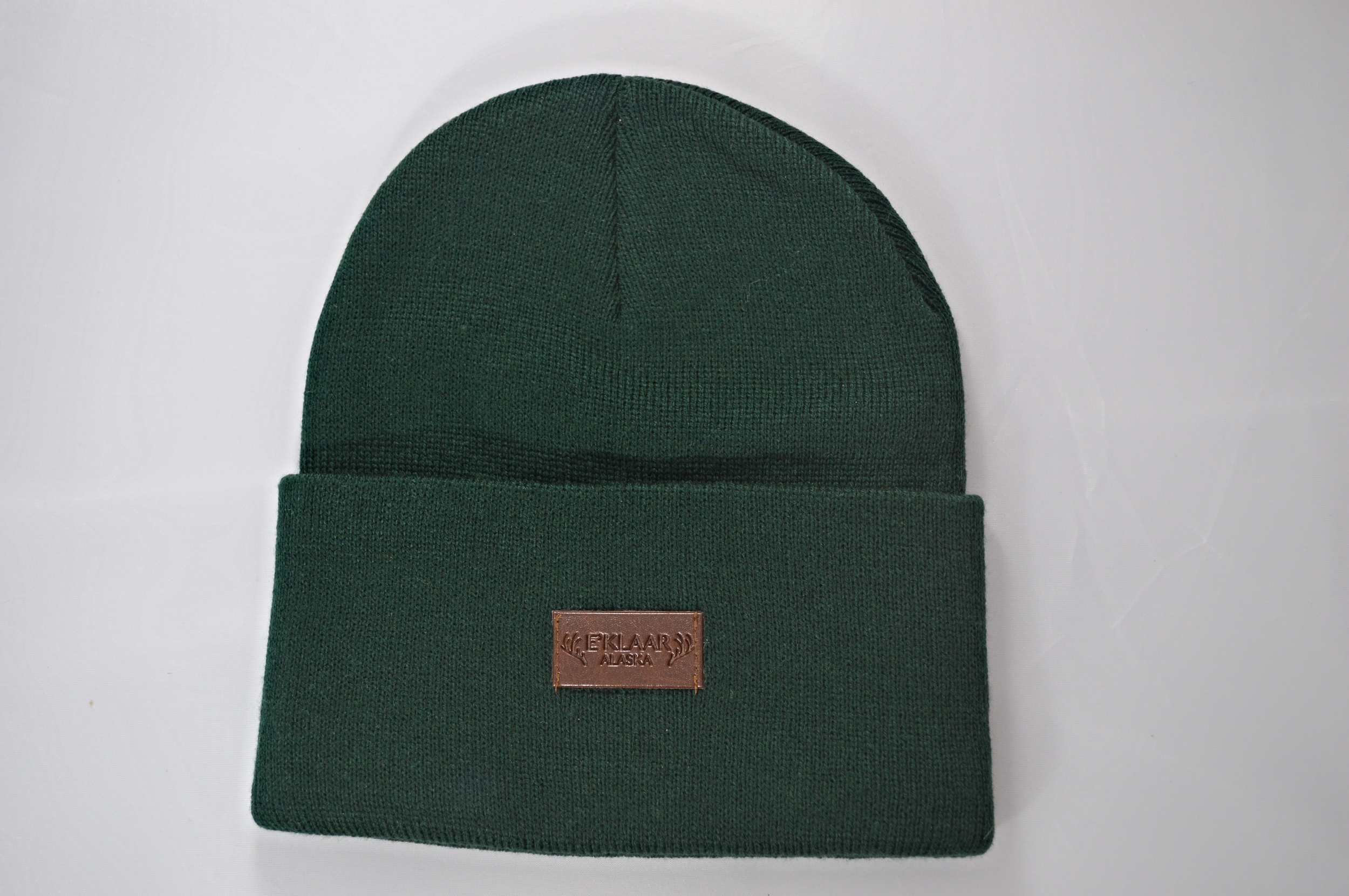 Forest Green Fold Over Beanie With Leather Patch — E KLAAR 34246bea8de