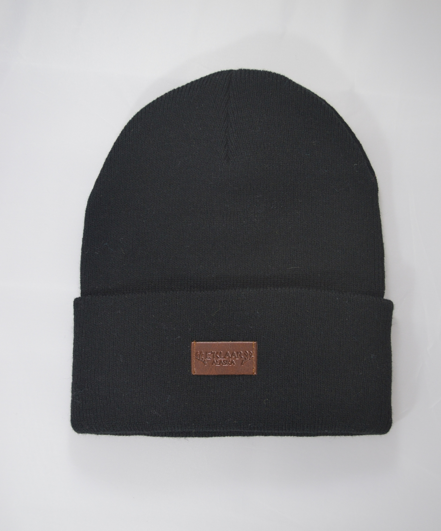 Black Fold Over Beanie With Leather Patch — E KLAAR 31fb5f6032d